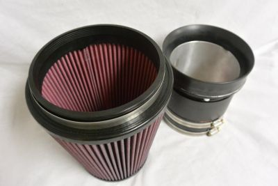 oversized mass air flow housing and air filter for ford mustang
